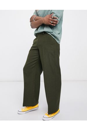 ASOS Extreme wide leg smart pants in khaki wool mix