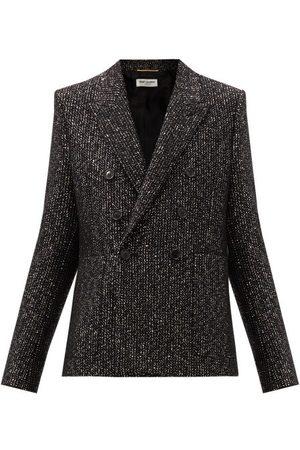 Saint Laurent Double-breasted Sequinned Wool-blend Blazer - Womens - Multi