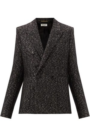 Saint Laurent Women Blazers - Double-breasted Sequinned Wool-blend Blazer - Womens - Multi