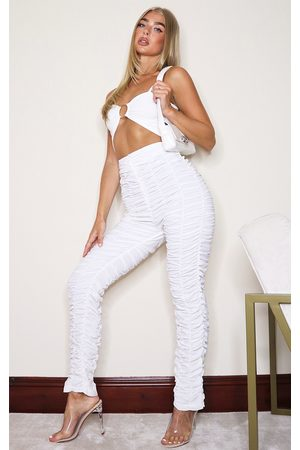 PRETTYLITTLETHING Ruched Leg Woven Skinny Pants
