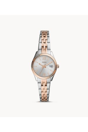 Fossil Women's Micro Scarlette Three-Hand Date Two-Tone Stainless Steel Watch - , Silver