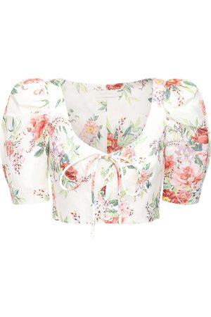 ZIMMERMANN Bellitude Floral Print Linen Crop Top