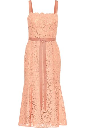 Oscar de la Renta Tie-waist lace midi dress