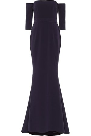 Safiyaa Stretch-crêpe off-shoulder gown