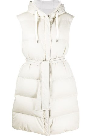 Brunello Cucinelli Women Gilets - Hooded puffer gilet - Neutrals