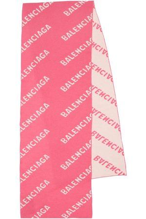 Balenciaga Logo Jacquard Wool Scarf