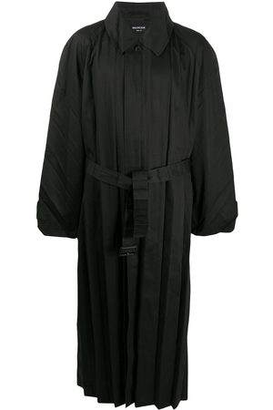 Balenciaga Men Trench Coats - Pleated belted trench coat