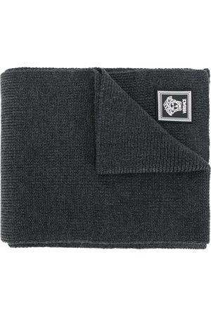 VERSACE Ribbed knit wool scarf - Grey