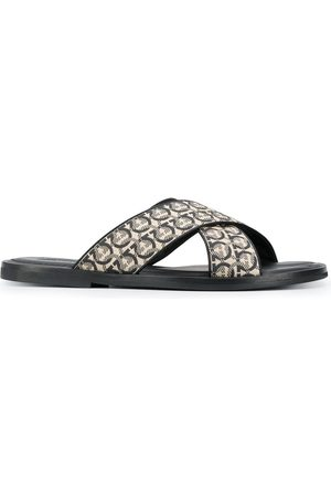 Salvatore Ferragamo Gancini printed pool slides - Neutrals