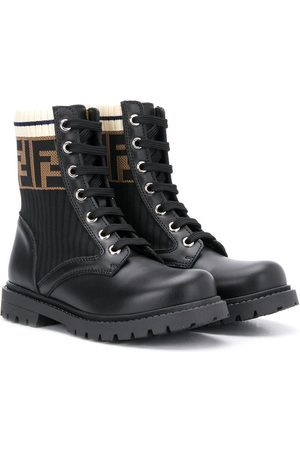 Fendi FF lace-up boots