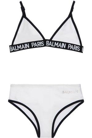 Balmain Logo Band Triangle Bikini