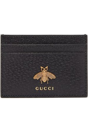Gucci Men Wallets - Bee-embellished Leather Cardholder - Mens