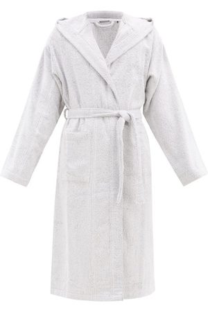 Schiesser Striped Cotton-terry Bathrobe - Mens - Light Grey