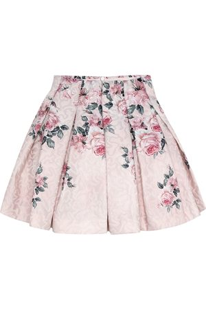 MONNALISA Floral brocade pleated skirt
