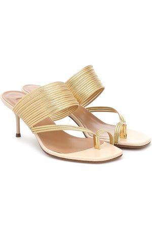 Aquazzura Sunny 60 leather-trimmed sandals