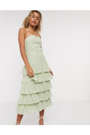 & OTHER STORIES & layered belted strapless dress in