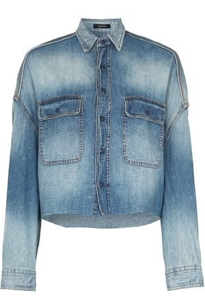 R13 Cropped denim shirt