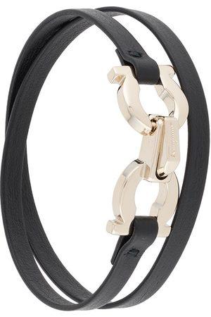 Salvatore Ferragamo Gancini leather wrap-around bracelet