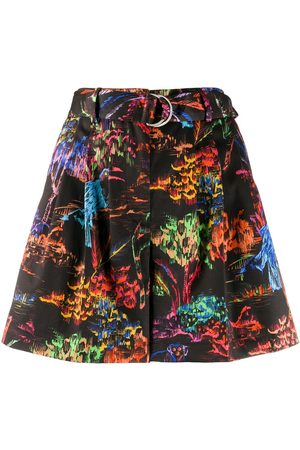 Msgm Abstract-print high-waisted shorts