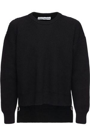 Paco rabanne Wool Knit Crewneck Sweater W/ Side Zips