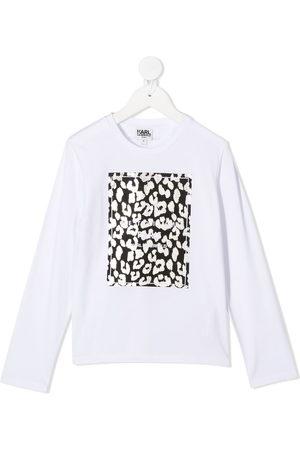 Karl Lagerfeld Logo leopard long-sleeve top