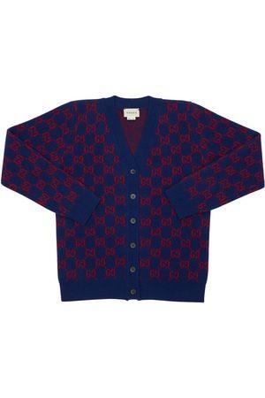 Gucci Felted Wool Jacquard Knit Cardigan