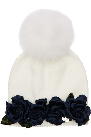 MONNALISA Knit Hat W/ Fur Pompom