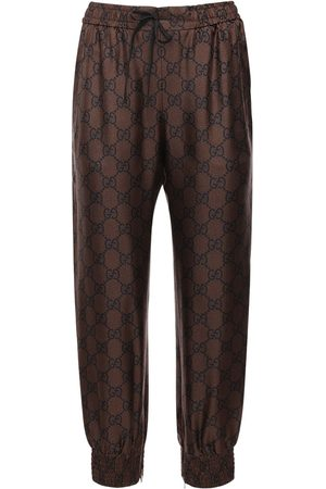 Gucci Gg Supreme Print Silk Twill Sweatpants