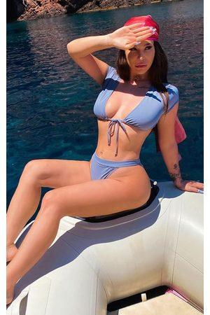 PRETTYLITTLETHING Charcoal Short Sleeve Tie Front Bikini Top