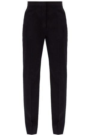 Jil Sander Women Straight Leg Pants - Mang Fleece-wool Gabardine Trousers - Womens - Navy
