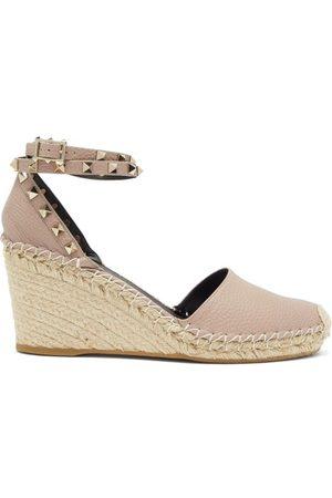 VALENTINO GARAVANI Women Wedge Sandals - Rockstud-strap Leather Espadrille Wedges - Womens - Nude
