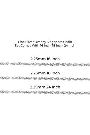 SuperJeweler Fine Overlay Singapore Chain NecklaceSet Comes w/ 16 Inch