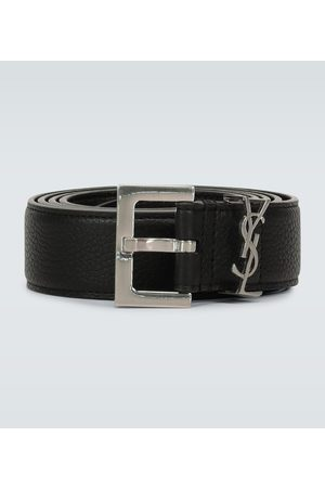 Saint Laurent Slim grained leather belt