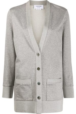 Thom Browne Hip length v-neck cardigan in light weight loopback - Grey