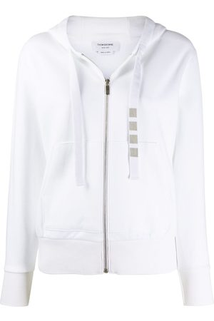 Thom Browne Zip up hoodie in compact double knit cotton with 4-bar twill drawcord