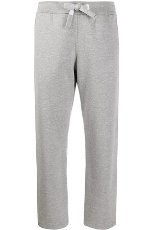 Thom Browne Straight Leg Sweatpants In Compact Double Knit Cotton With 4 Bar Twill Drawcord - Grey