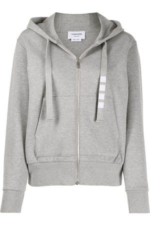 Thom Browne Zip Up Hoodie In Compact Double Knit Cotton With 4 Bar Twill Drawcord - Grey