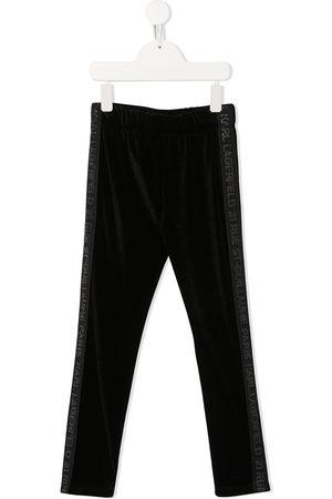 Karl Lagerfeld Logo-panel velvet leggings