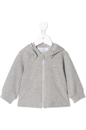 Familiar Embroidered bear hoodie - Grey
