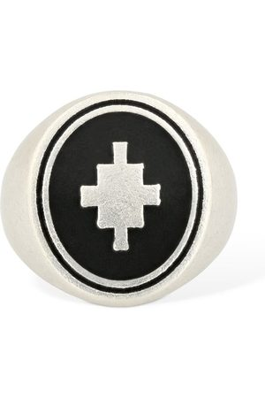 MARCELO BURLON Cross Logo Detail Thick Ring