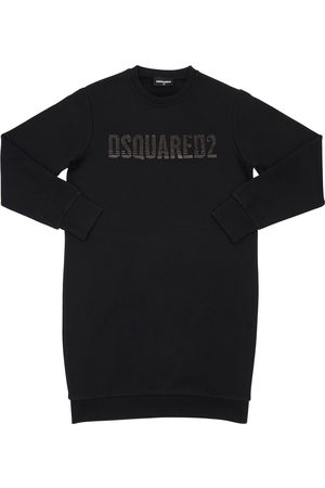 Dsquared2 Sequined Logo Cotton Sweatshirt Dress