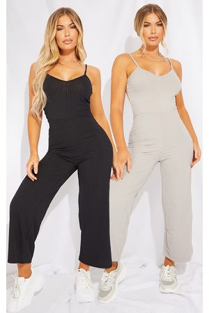 PRETTYLITTLETHING & Grey 2 Pack Ribbed Culotte Jumpsuit