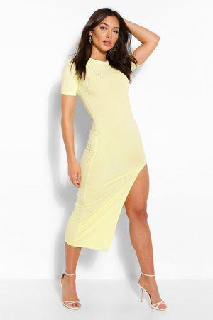 Boohoo Womens Jumbo Rib Split Side Mini Dress - - 4