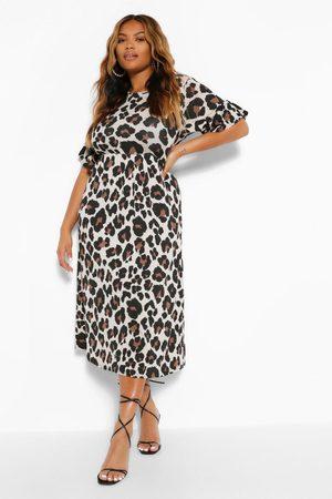 Boohoo Womens Plus Leopard Ruffle Midi Smock Dress - - 12