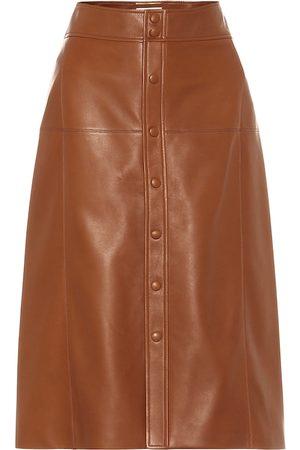 Saint Laurent Leather midi skirt