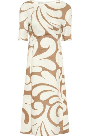Marni Printed cotton and linen midi dress