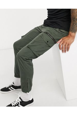 River Island Tapered cargo pants in khaki-Stone