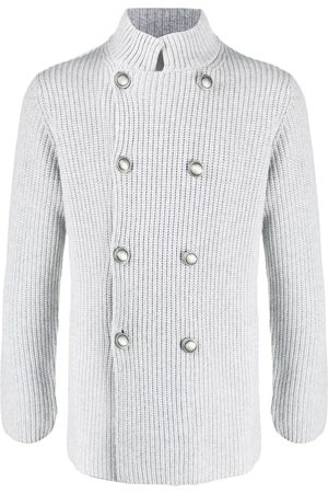 Brunello Cucinelli Double-breasted knit jacket - Grey