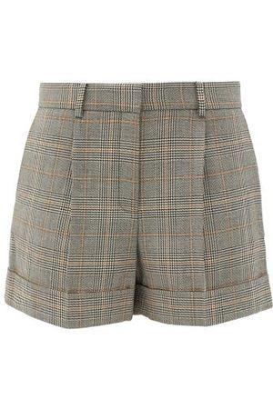 BELLA FREUD Prince Of Wales-checked Wool Shorts - Womens - Grey