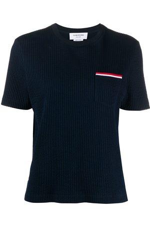 Thom Browne Women Short Sleeve - Striped pocket seersucker T-shirt
